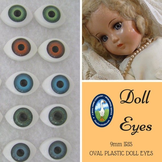 A-1 Carving 8 PAIR Oval Plastic DOLL EYES 7mm IRIS Doll Puppet Jewelry Design