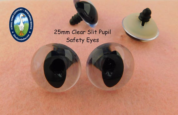 4 PAIR Safety Eyes 16mm to 21mm CLEAR SLIT Pupil Crafts Dragon Cat Sew CSPE-1