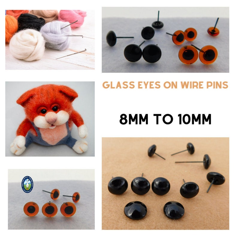 Turquoise Cat Glass Eyes On Wire Pin Posts for Needle Felting Doll Sculpture Making and Other Crafts 14mm