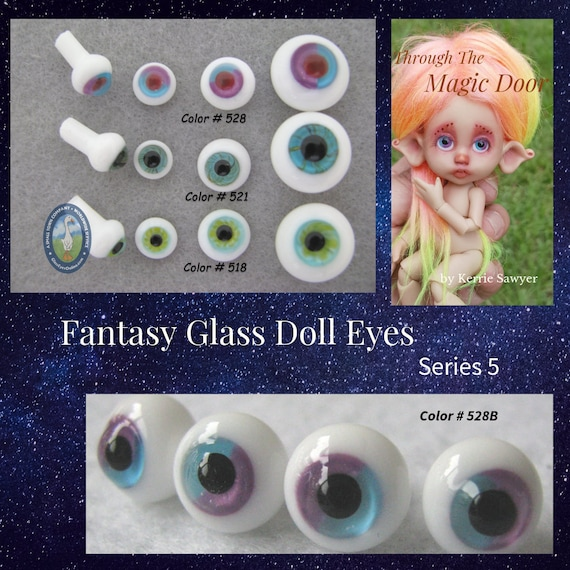 8mm  Blue /& Grey Glass Eyes For BJD Doll Dollfie Glass Eyes Outfit