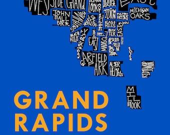Grand Rapids City Neighborhood Hand-Drawn Map Print