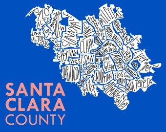 Santa Clara County - Silicon Valley Hand-Drawn Map Print