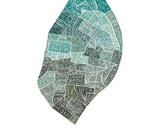 St. Louis Neighborhood City Map hand-drawn print