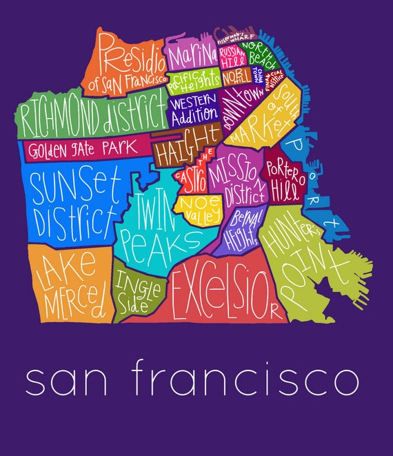 San Francisco City Map Neighborhood Hand Drawn Print Etsy