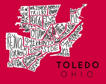 Toledo, Ohio hand-drawn city neighborhood map