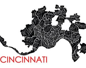 Cincinnati Neighborhood Map Canvas print