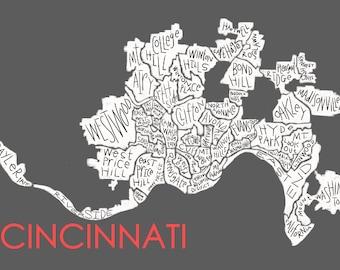Cincinnati Neighborhood Map Hand-drawn Print