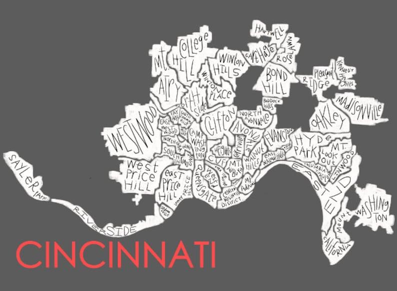 Cincinnati Neighborhood Map Hand-drawn Print | Etsy on