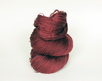 GARNET, pink label hand dyed lace weight yarn