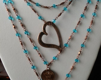 Copper and turquoise-beaded chain necklace