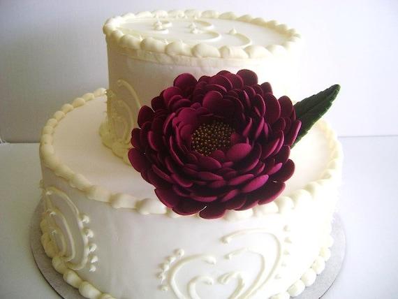 Burgundy Peony Wedding Cake Flower Cake Topper Cake Design Etsy