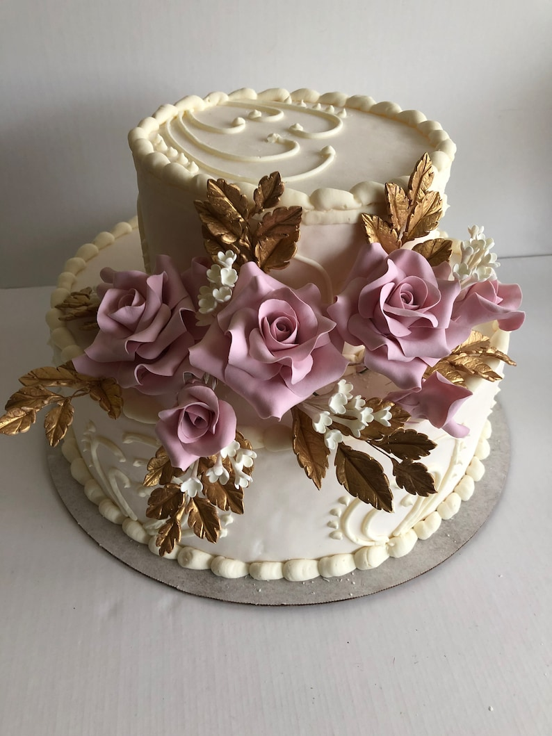 Wedding Rose Gold Cake Topper clay Flowers Cake Flowers