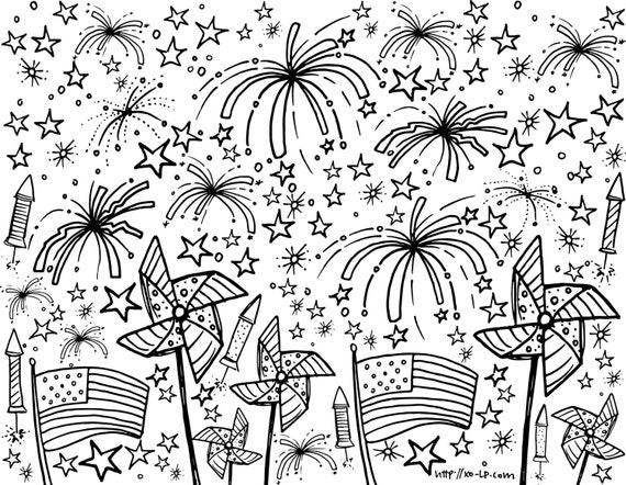 Printable Fourth Of July Coloring Page For Kids Instant Etsy