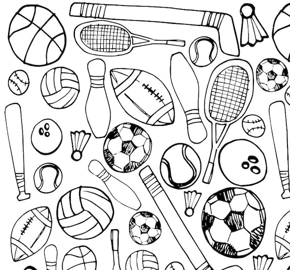 - Printable Sports Coloring Page Etsy
