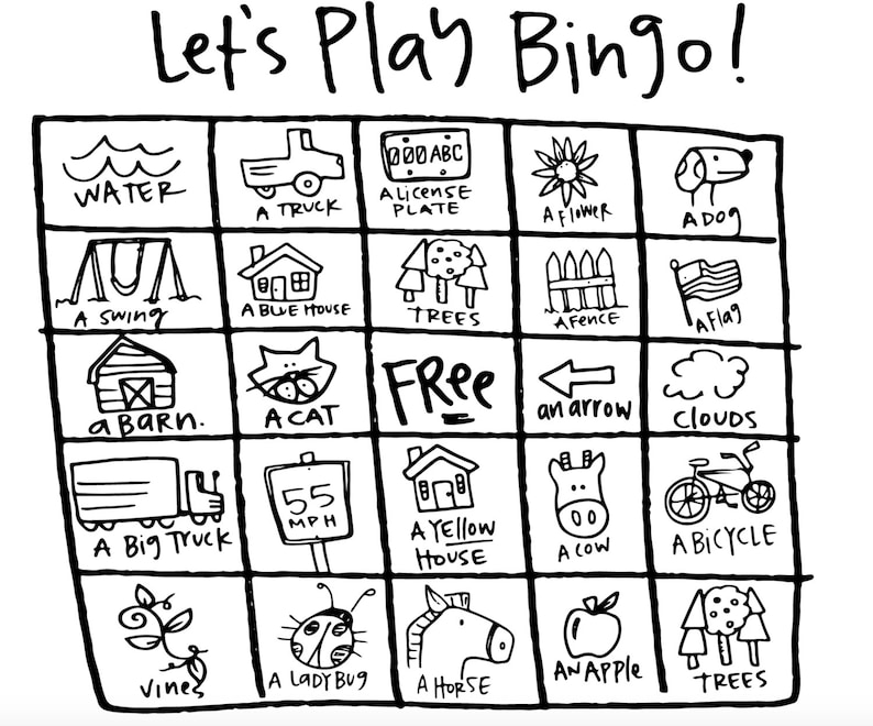 photo about Travel Bingo Printable known as Printable Street Getaway Bingo Playing cards