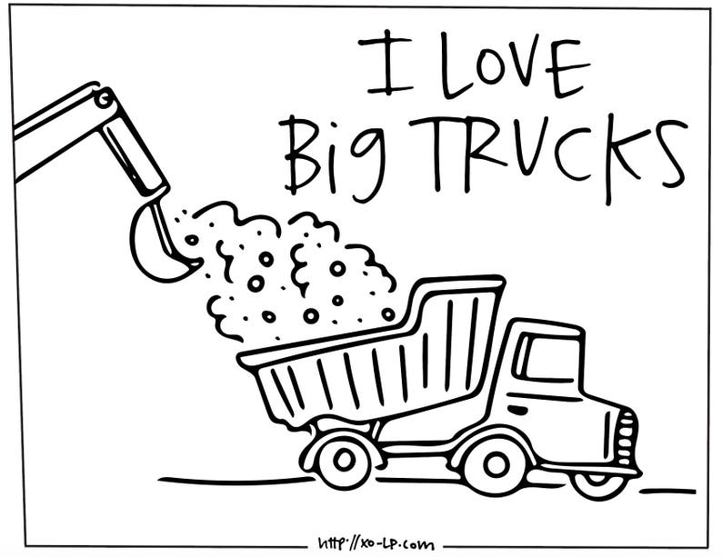 I Love Big Trucks Coloring Book Printable [Instant Download: Trucks to  Color for Kids]