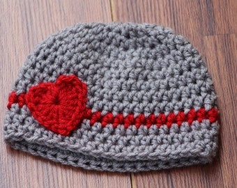 Baby boy hat, Valentines preemie hat, Crochet baby hats, valentines newborn infant hat, Crochet photo prop, Baby girl heart