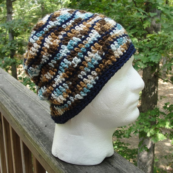 Mens Crochet Hats In Blue Camo Mans Beanies Mens Cap Etsy