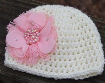 Baby girl hat, Newborn photo prop, infant hat, crochet photo prop hat, take home outfit, Baby girl hat, baby shower gift, crochet baby hat