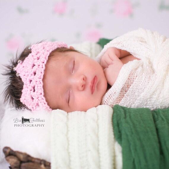 Babymädchen häkeln Baby Krone Neugeborene Stirnband Krone