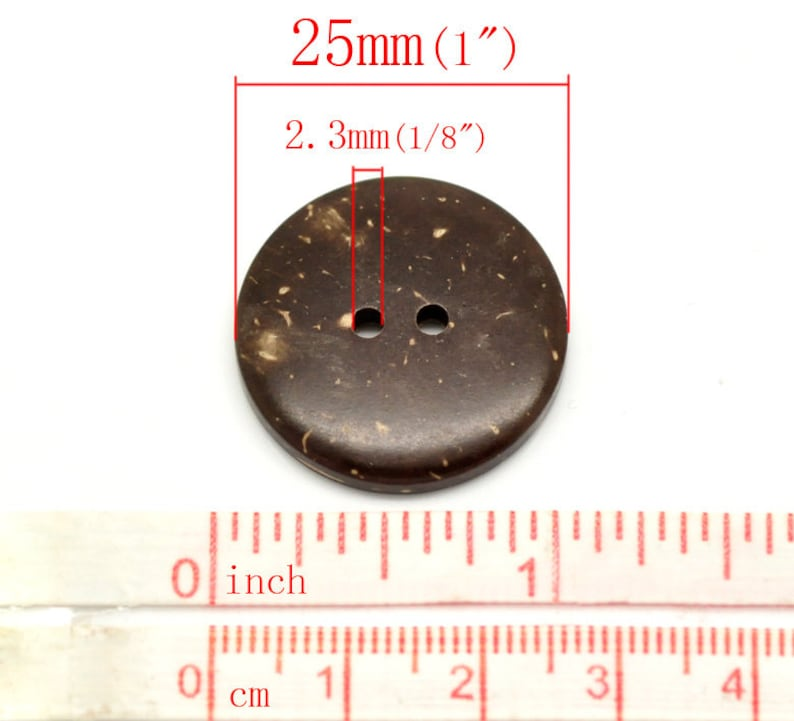 Novelty sewing buttons jacket set of 10 sweater buttons 78 Brown Coat 23mm Coconut shell buttons 2 holes