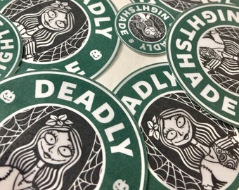 Sally Nightmare Before Christmas Starbucks Sticker - Deadly Nightshade- Stickers for laptops, journals, tumblers, phones, etc.