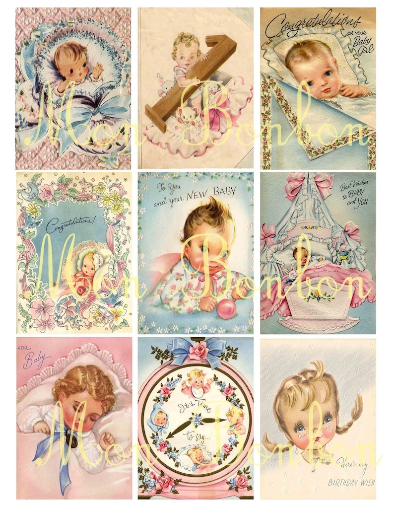 Vintage Retro Shabby Chic Baby Greeting Cards Collage Sheet  image 0