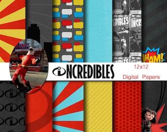 Disney Incredibles Superhero Inspired 12x12 Digital Paper Pack for Digital Scrapbooking, Party Supplies, etc -INSTANT DOWNLOAD -