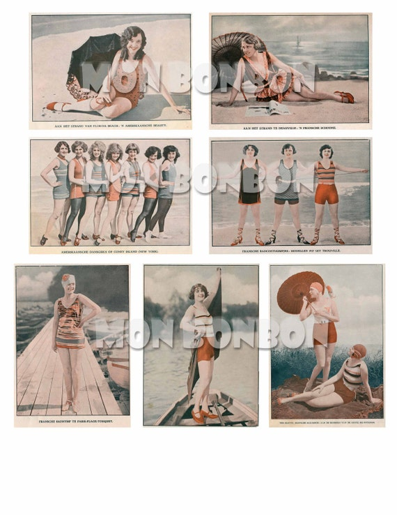 Vintage Beach Girl Photos Perfect For Your Altered Art Projects Paper Crafts Canvas Art Digital Etc Instant Download