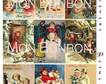 Digital Download of 18 Vintage Christmas Postcards Collage Sheet 2.5 x 3.5 size  - DIY Printable - INSTANT DOWNLOAD