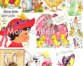 Digital Collage Sheet of Vintage Retro Easter Card Images - DIY Printable - INSTANT DOWNLOAD