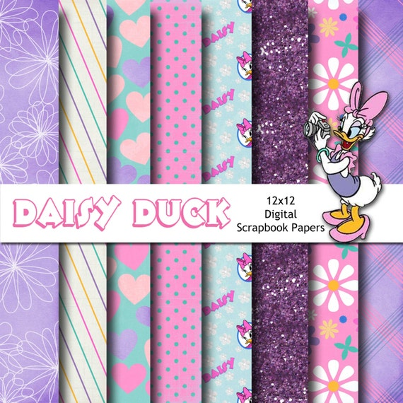 Disney Daisy Duck Inspired 12x12 Digital Paper Backgrounds For Etsy