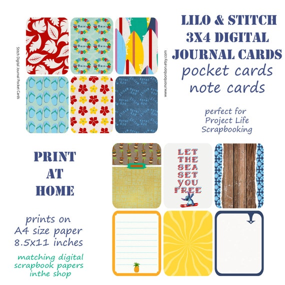 Lilo Stitch 3x4 Pocket Cards For Digital Scrapbooking Etsy