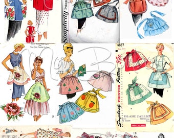 Vintage Apron Sewing Pattern Digital Collage Sheet No. 2  JPG and PnG - INSTANT DOWNLOAD