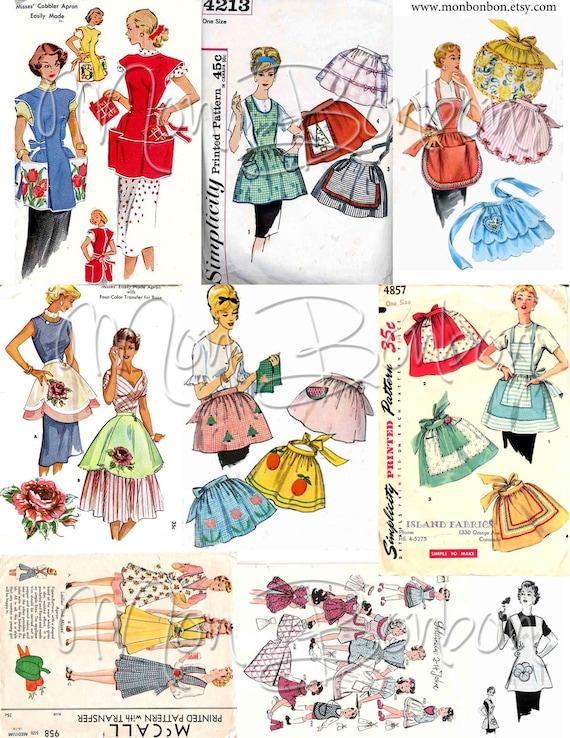Tablier Vintage couture patron Collage numérique feuille n ° 2 JPG et PnG -  téléchargement immédiat