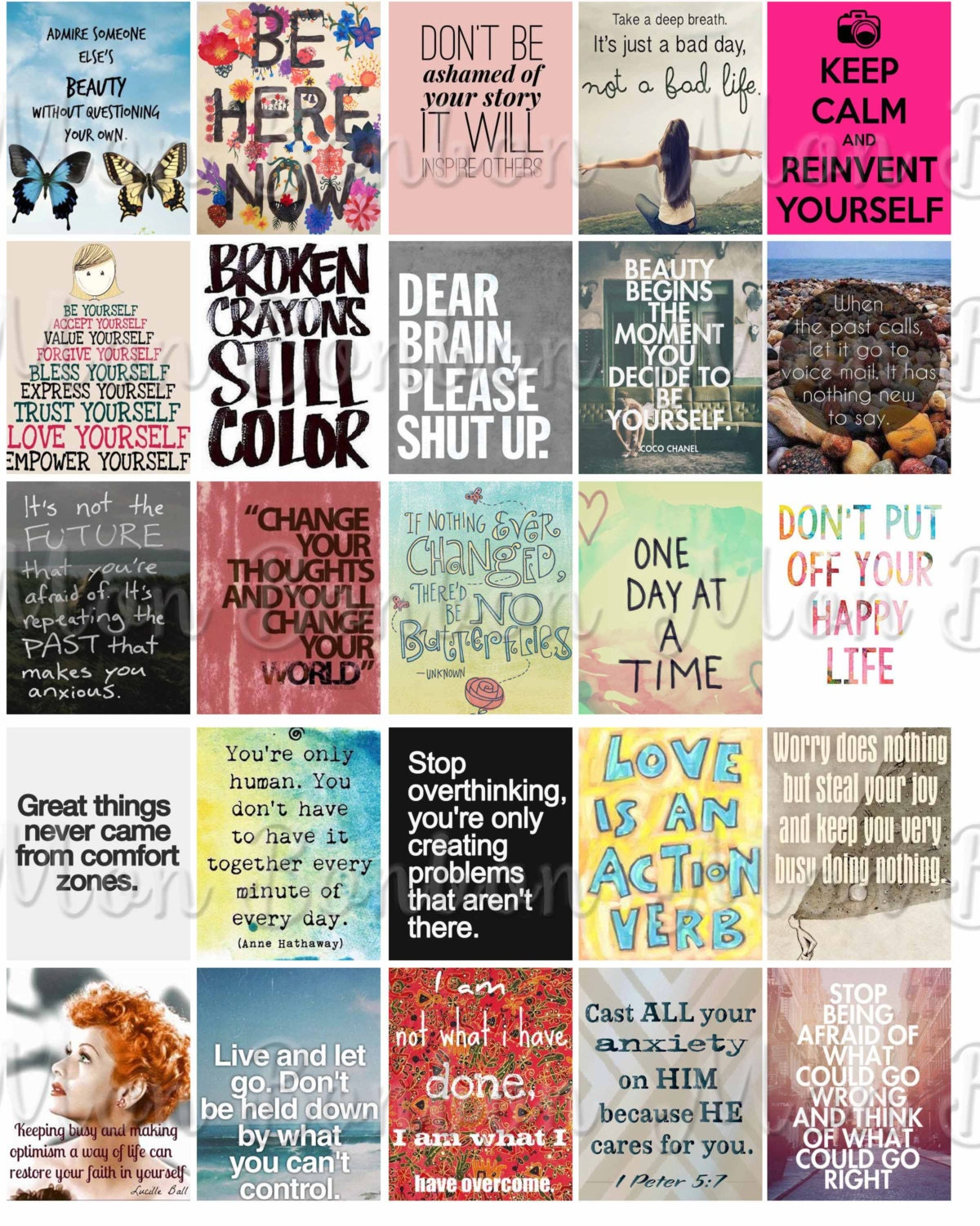 Anxiety Motivational Quotes Sticker Sheet Printable Etsy