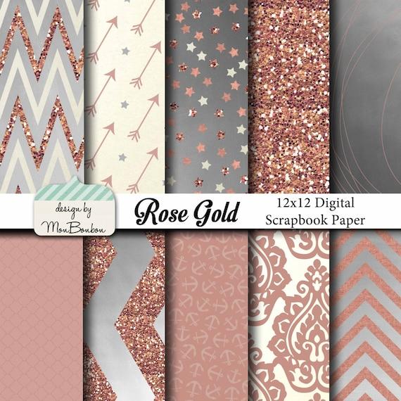 Rose Or Numerique Papier Peint Pack 12 X 12 Rose Creme Etsy