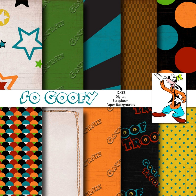 etc Party Supplies Disney Goofy Inspired 12x12 Digital Paper Backgrounds for Digital Scrapbooking INSTANT DOWNLOAD