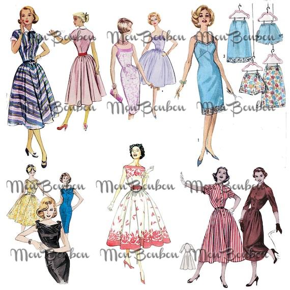 Retro Sewing Pattern Girls Clip Art Digital Collage Sheet | Etsy