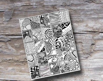 Doodle Planner Printables - Coloring Page Life Planner Printable - Print at Home Tangles - Fits Erin Condren Life Planners - Doodle Art
