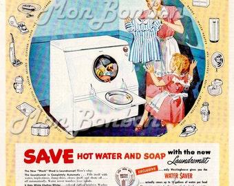 Digital Download of Large 8x10 Vintage Retro 50's Westinghouse Laundromat Magazine Ad - You Print - Laundry Room Decor - INSTANT DOWNLOAD