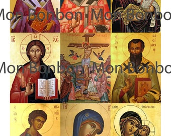 Vintage Greek Orthodox Religious Digital Download Collage Sheet ATC sized  ACEO 2.5 x 3.5 inch images