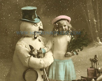 Digital Download of Large 5x7 Vintage Girl with Snowman Christmas Photo- DIY Printable - INSTANT DOWNLOAD