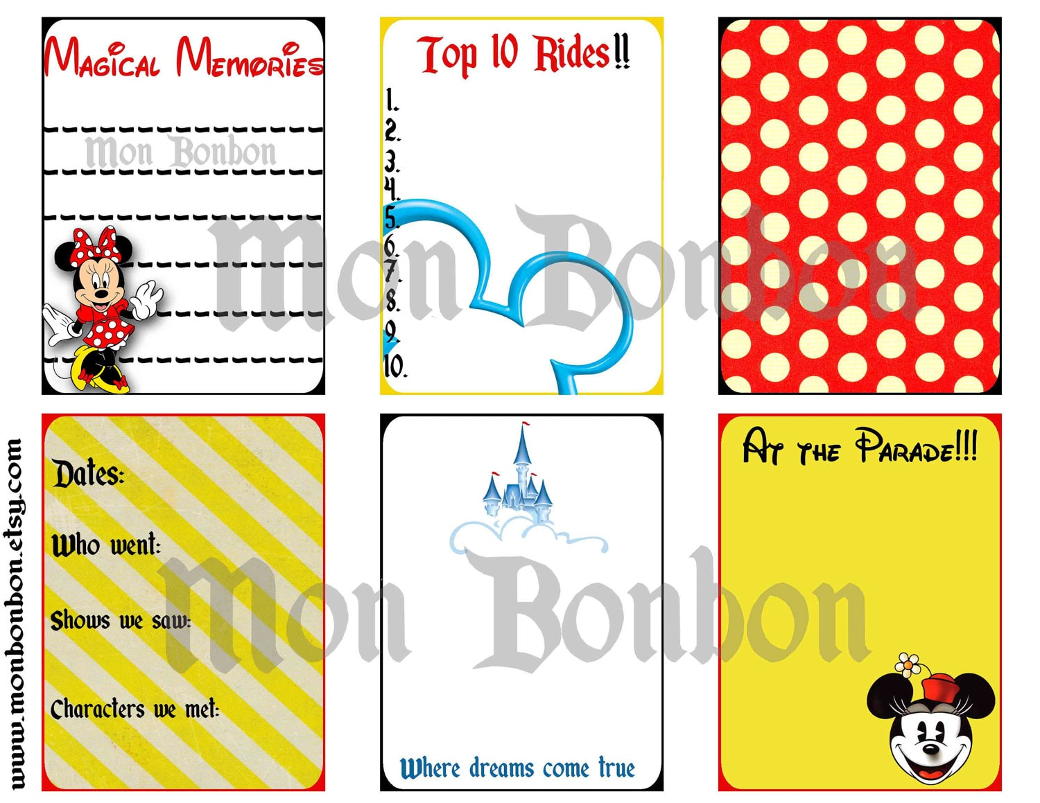 Six Digital Magic Journal Cards Perfect For Project Life Etsy