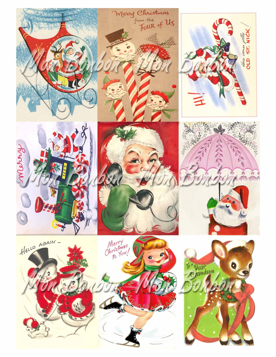 Digital Collage Sheet of Vintage Retro Christmas Card Images | Etsy
