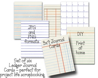 6 Digital Ledger Journal Cards - Perfect for Project Life Inserts - 3x4 inches - DIY Printable - INSTANT DOWNLOAD