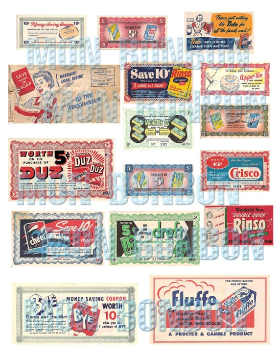 Vintage Retro Grocery Coupons Ephemera Digital Collage Sheet Etsy