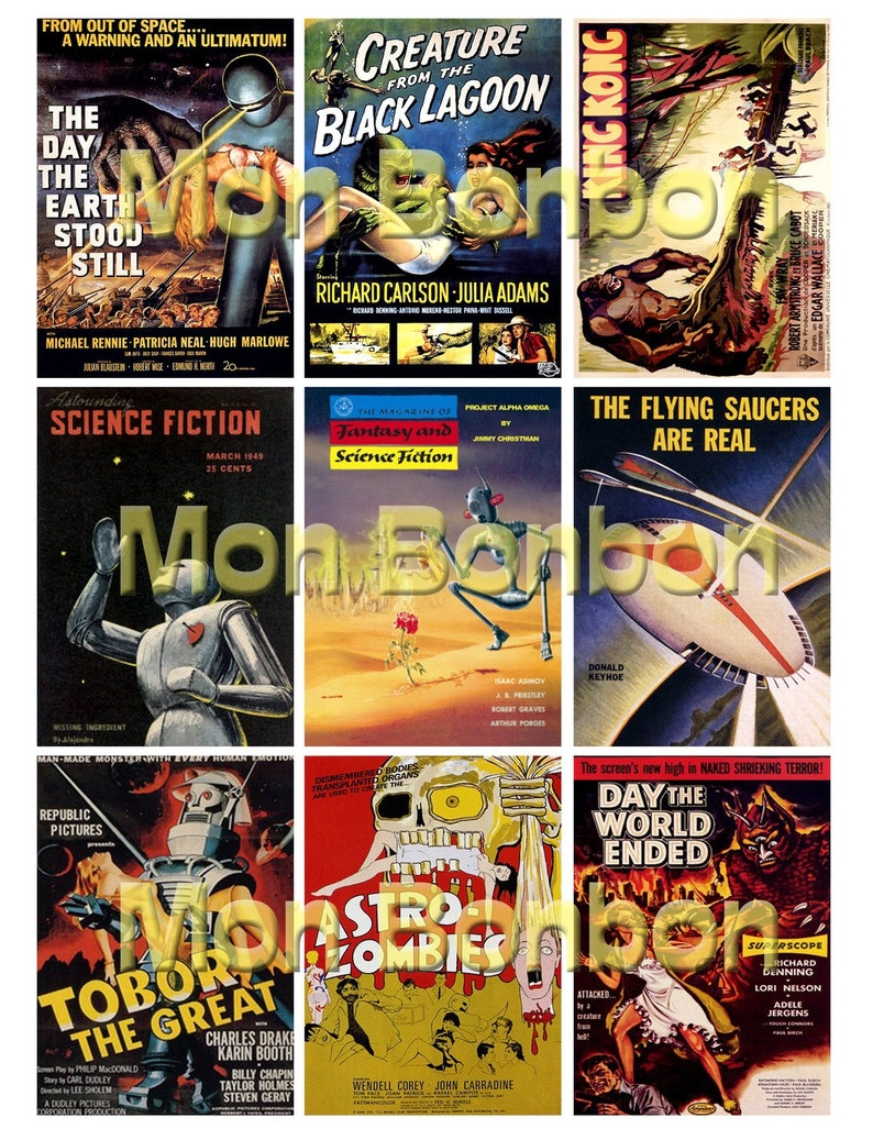 picture regarding Printable Movie Posters named Classic Retro SciFi B Video clip Posters Electronic Collage Sheet - Do it yourself Printable - Immediate Down load