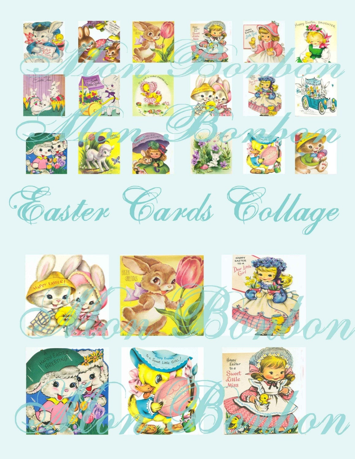 Easter Greeting Cards Collage Sheet 1x1 And 2x2 Sizes Digital Etsy