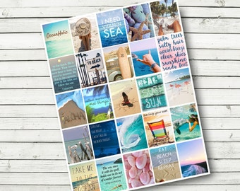 Beach Planner Sticker Sheet - Print at Home - Beach Motivational Planner Stickers - DIY - fits Erin Condren Life Planner - 1.5 x 1.9 inch